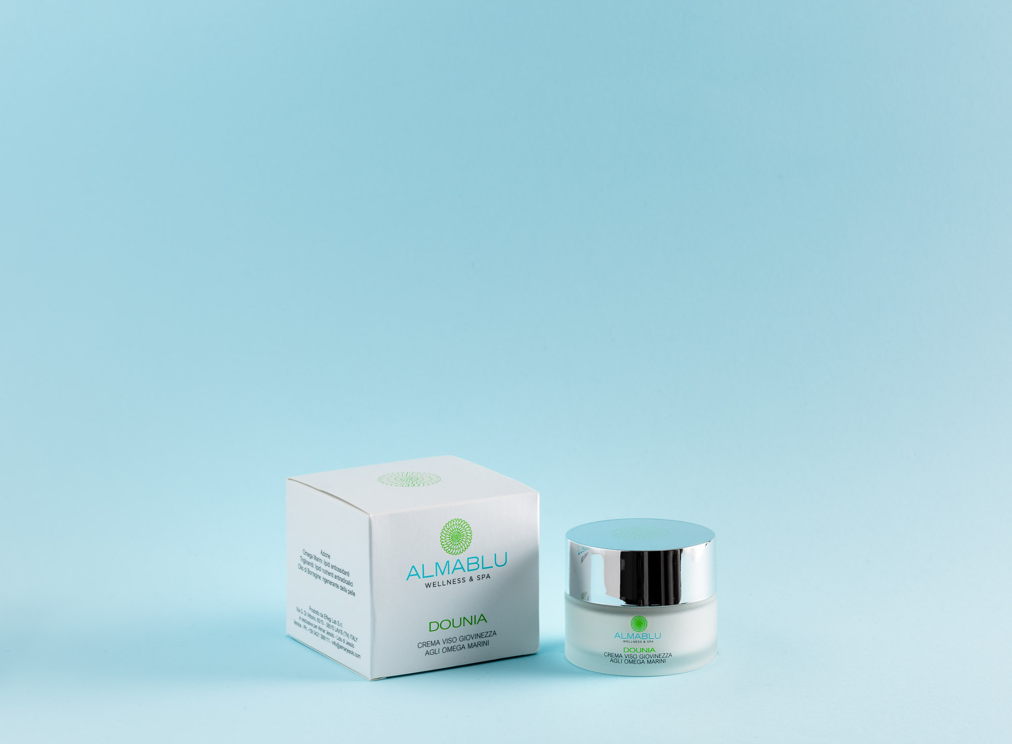Almablu Dounia: youth cream with marine omega fatty acids.