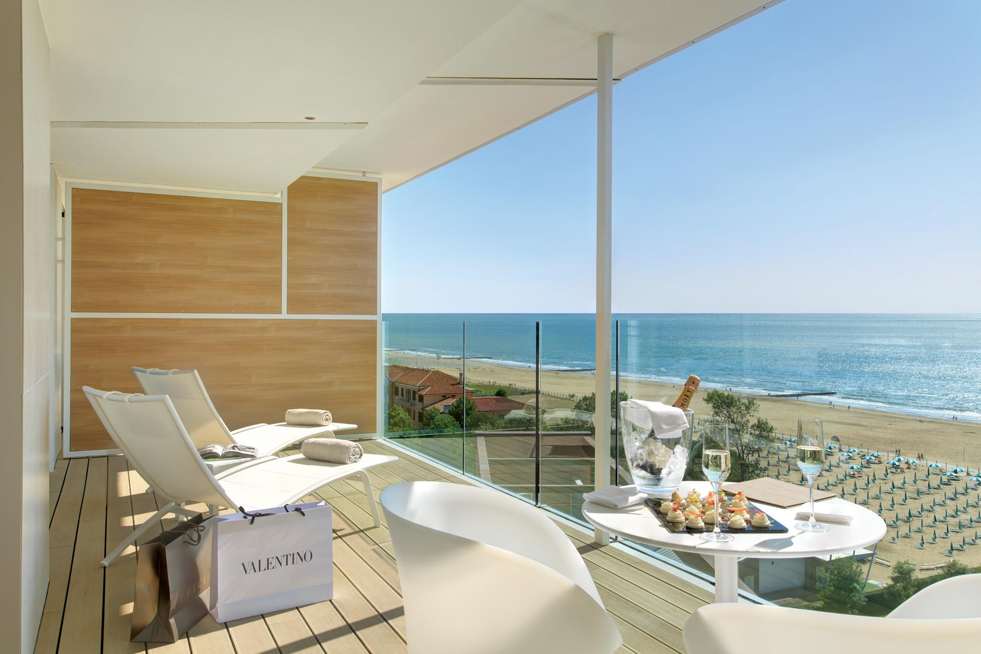 Terrace of the Suite Prestige with sea view in Almar Jesolo Hotel