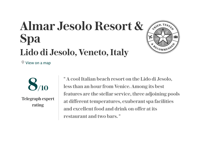 Almar Jesolo Press Review by Telegraph: best hotels in Italy guide