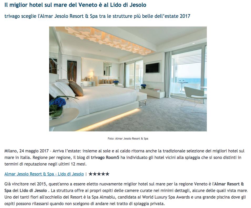 Room5 di Trivago nomina Almar Jesolo come il miglior hotel sul mare del 2017