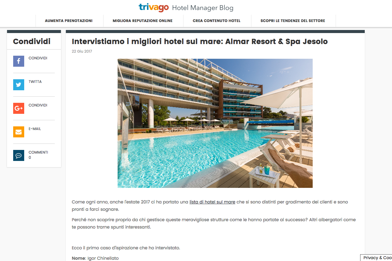 Intervista di Trivago ad Almar Jesolo: miglior hotel sul mare 2017