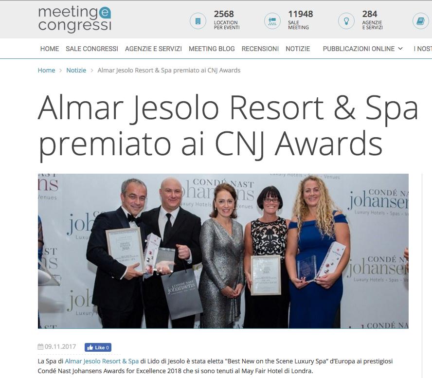 Almar Jesolo Resort & Spa premiato ai CNJ Awards