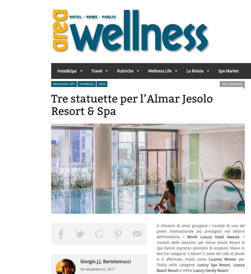 Area Wellness - Almar miglior luxury spa, beach and family resort d'Italia